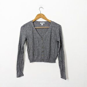 3/15 Abound Gray Pointelle Cropped Sweater NWOT
